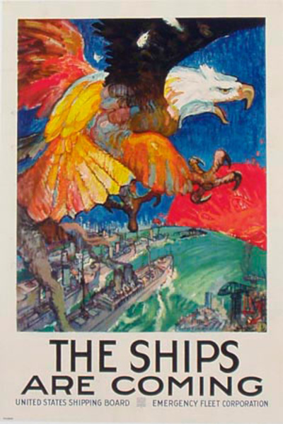 The Ships Are Coming Original Vintage World War I Poster