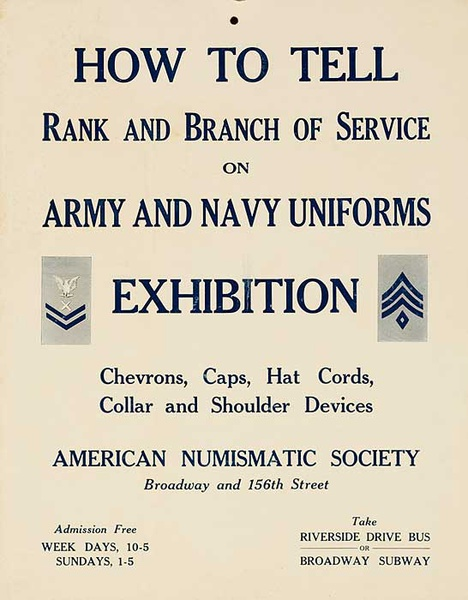 How to Tell Rank and Branch of Service Army And Navy Uniforms Original WII Exhibit Poster