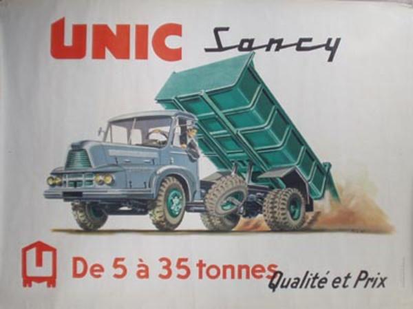 Unic Truck Original Vintage Poster Green Dump Truck