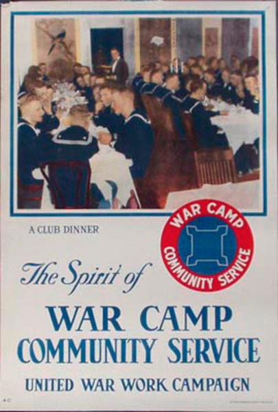 War Camp Community Service Club Dinner Original Vintage WWI Poster
