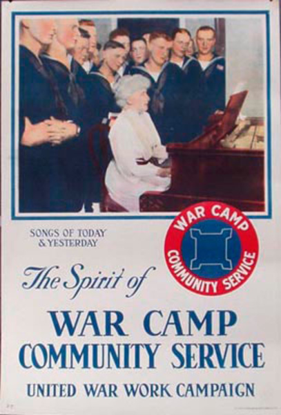 War Camp Community Service Songs of Today and Yesteryear Original Vintage WWI Poster