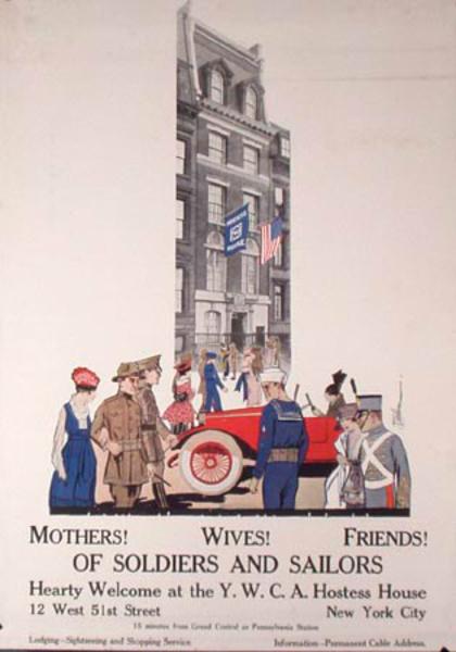 YWCA Hostess House Original Vintage World War One Poster