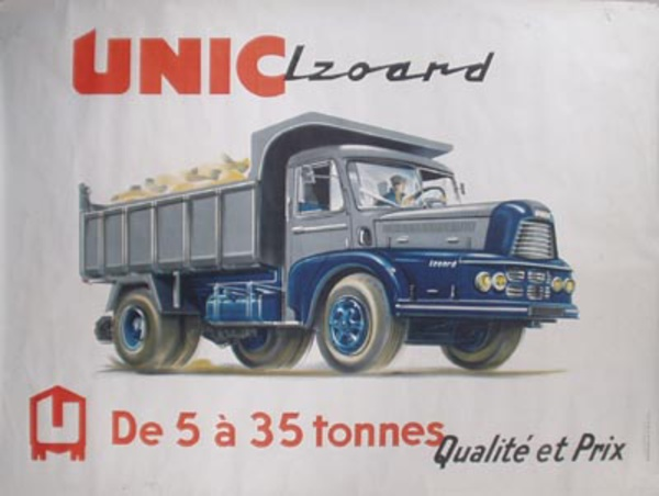 Unic Truck Original Vintage Poster Grey Dump Truck