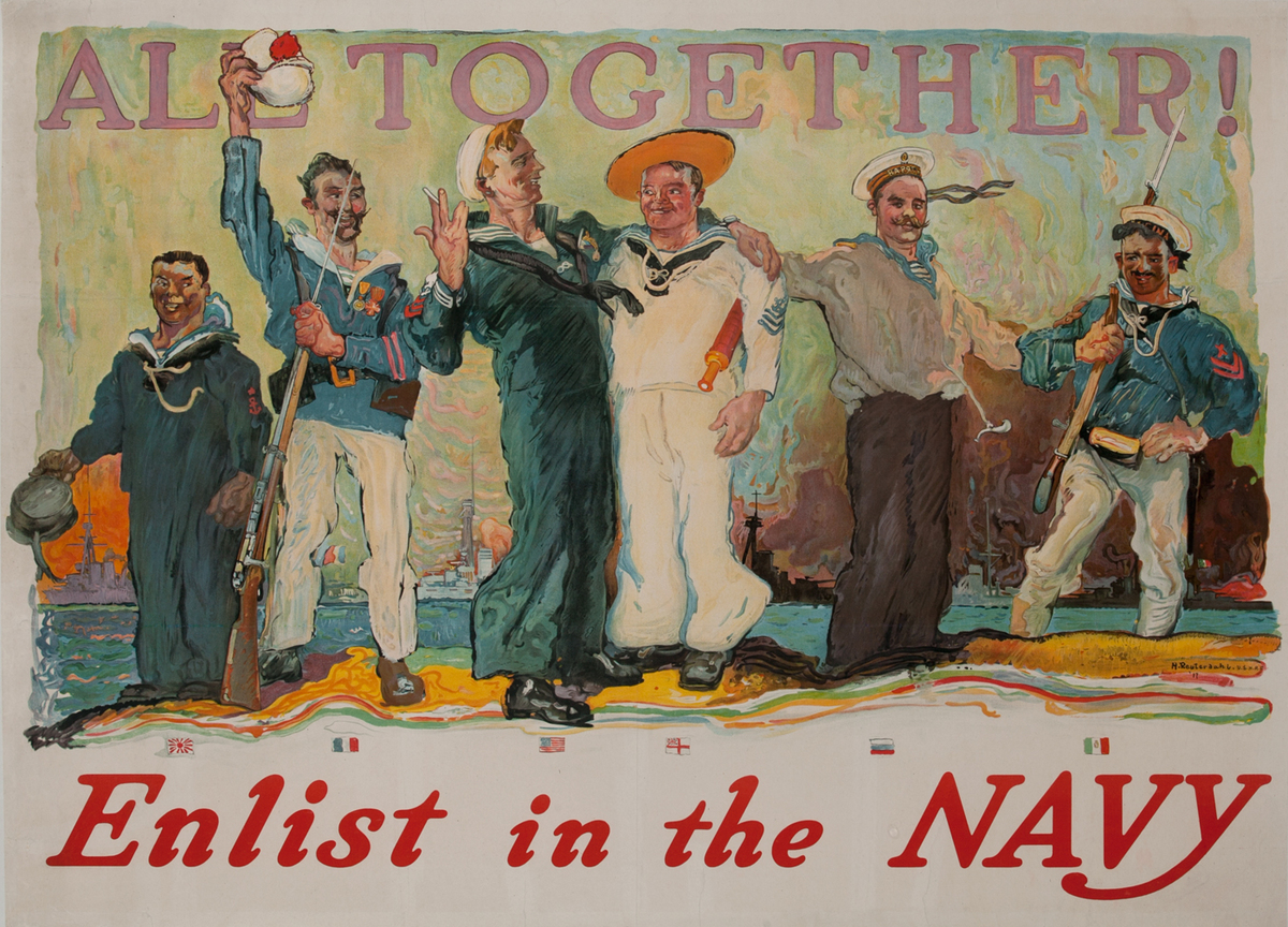 All Together Original American WWI Recruiting Poster