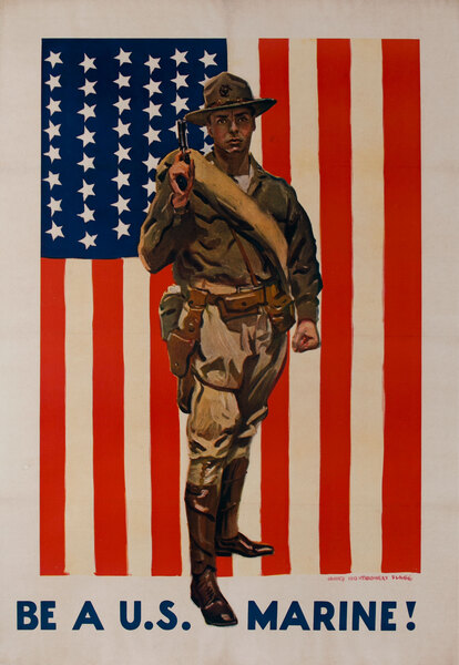 BE A U.S. MARINE!  Original World War One Recruiting Poster