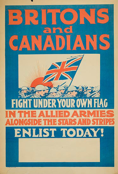 Britons and Canadians Fight Under Your Own Flag Original WWI Recruiting Poster
