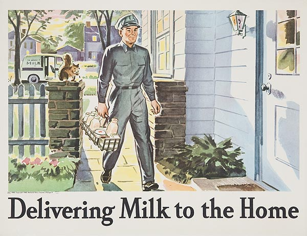 Delivering Milk to the Home Original Dairy Council Promotional Poster