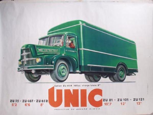 Unic Truck Original Vintage Poster Green Zu's
