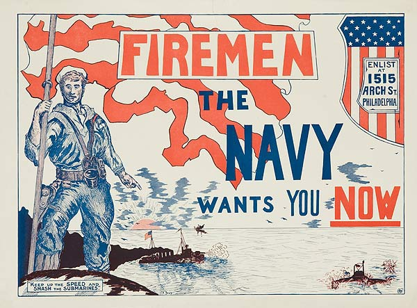 Fireman The Navy Wants You Now Original WWI Recruiting Poster