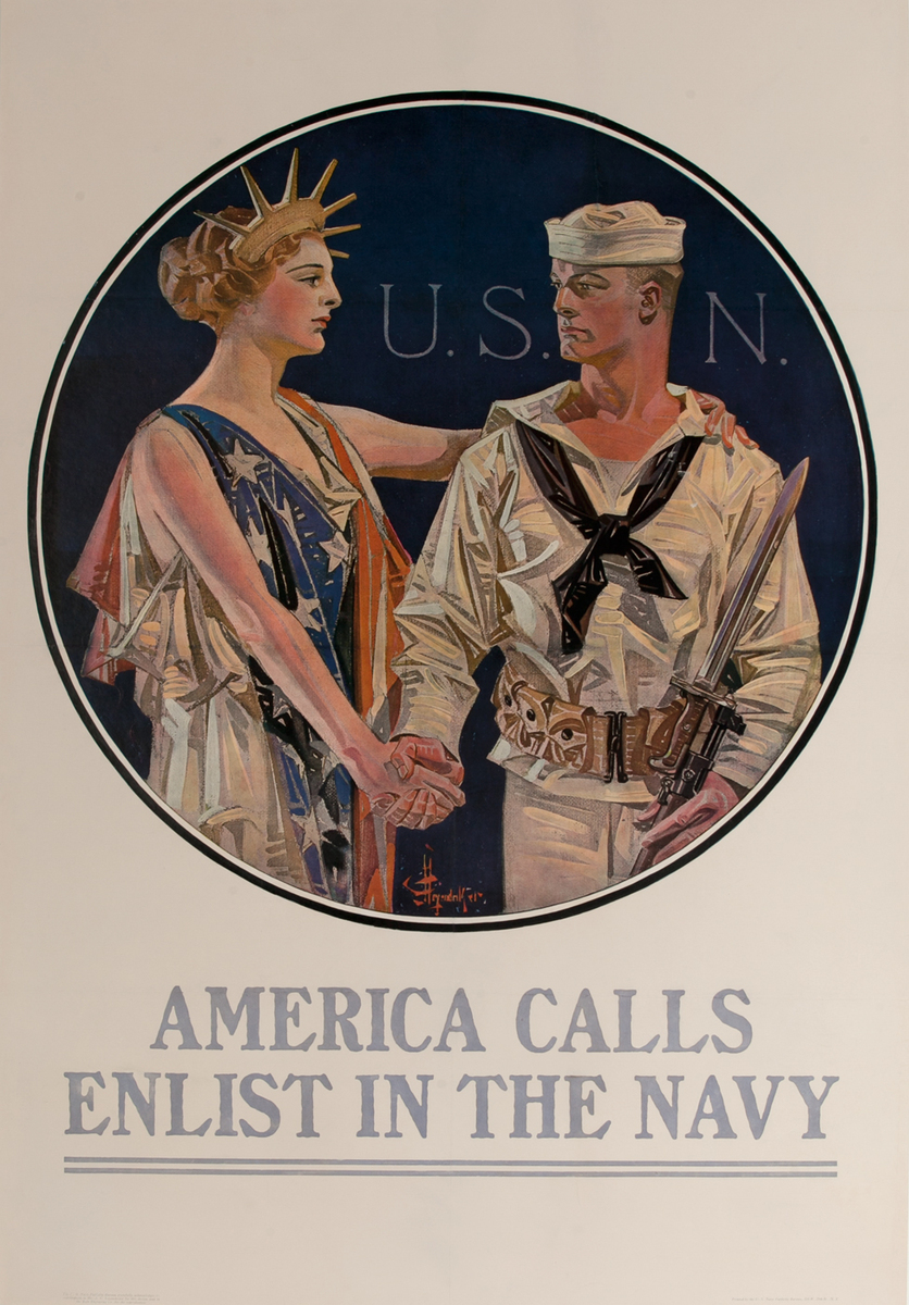 America Calls Enlist In The Navy Original Vintage World War One Recruiting Poster