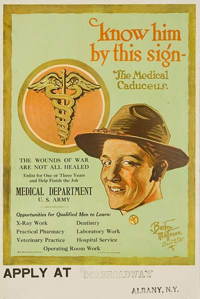 Know Him by This Sign Medical Department U.S. Army Original WWI Recruiting Poster