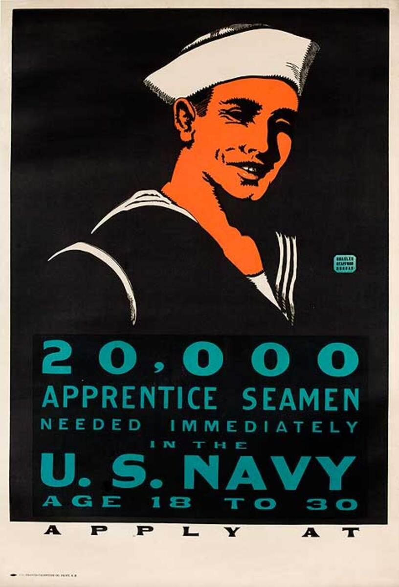 20,000 Apprentice Seamen Needed Original World War One US Navy Recruiting Poster