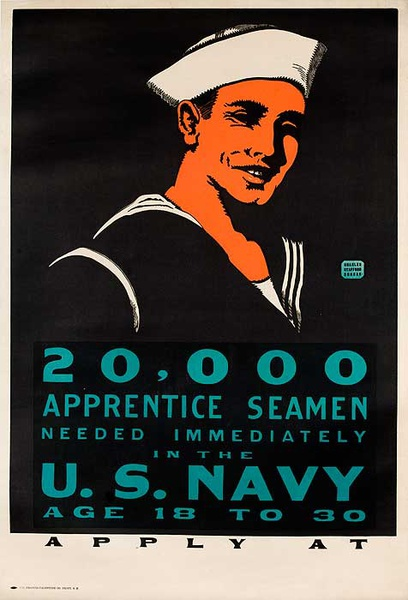 20,000 Apprentice Seamen Needed Original World War One US Navy Recruiting Poster
