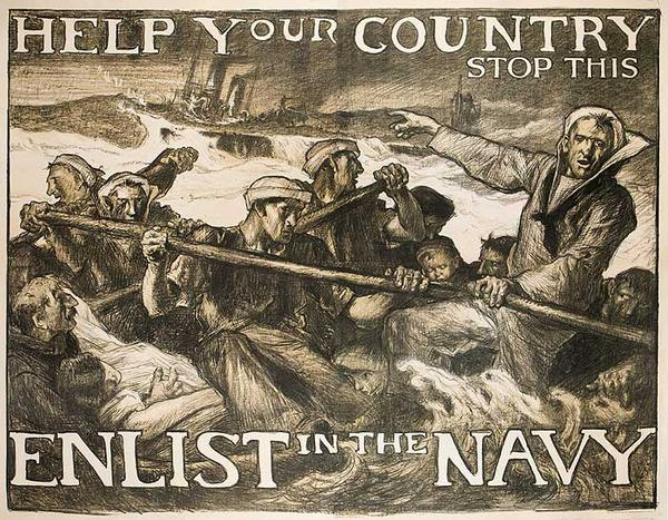 Help Your Country Stop This Enlist In The Navy Original WWI Recruiting Poster