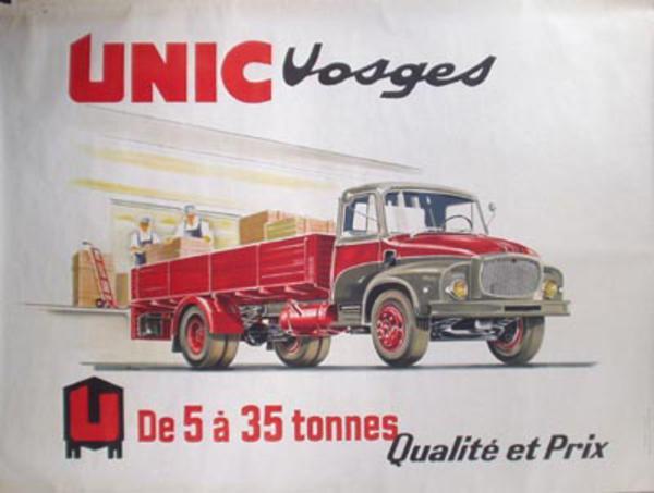 Unic Truck Original Vintage Poster Vosges open truck