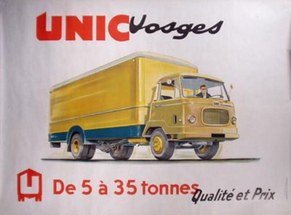 Unic Truck Original Vintage Poster Vosges yellow truck