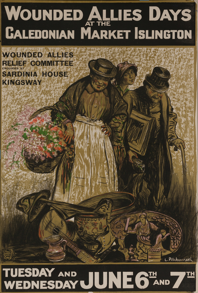 Wounded Allies Day at the Caledonian Market Islington,  Original WWI British Homefront Poster