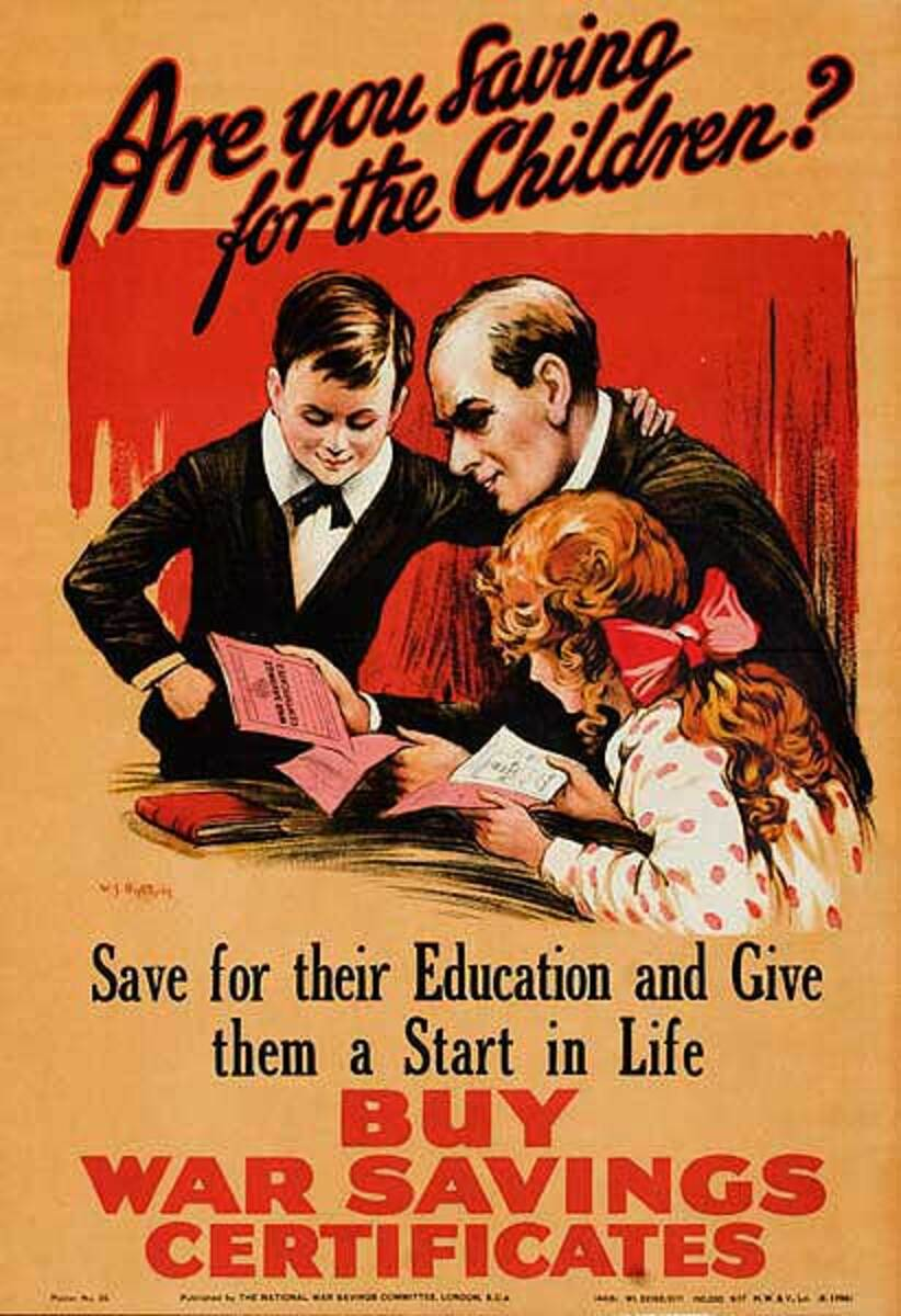 Are You Saving for The Children Original British WWI Poster