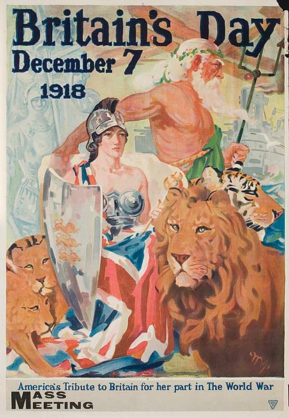 Britain's Day 1918 Original Vintage WWI Poster
