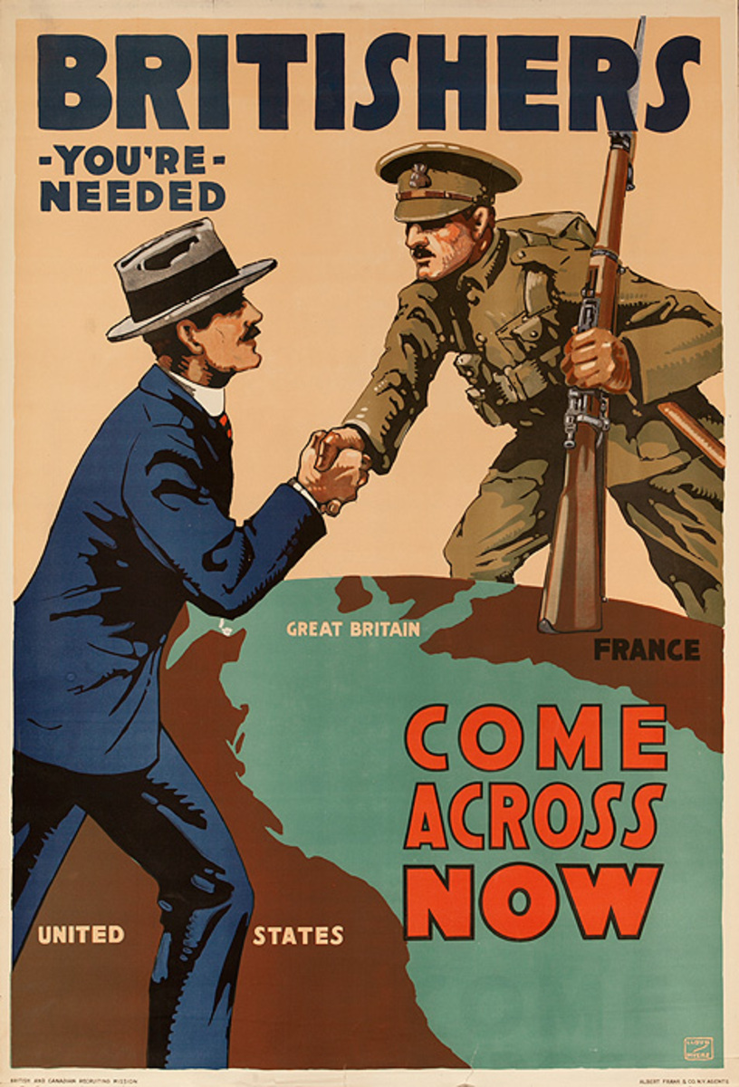 Britishers You're Needed Come Across Now Original Vintage British WWI Poster