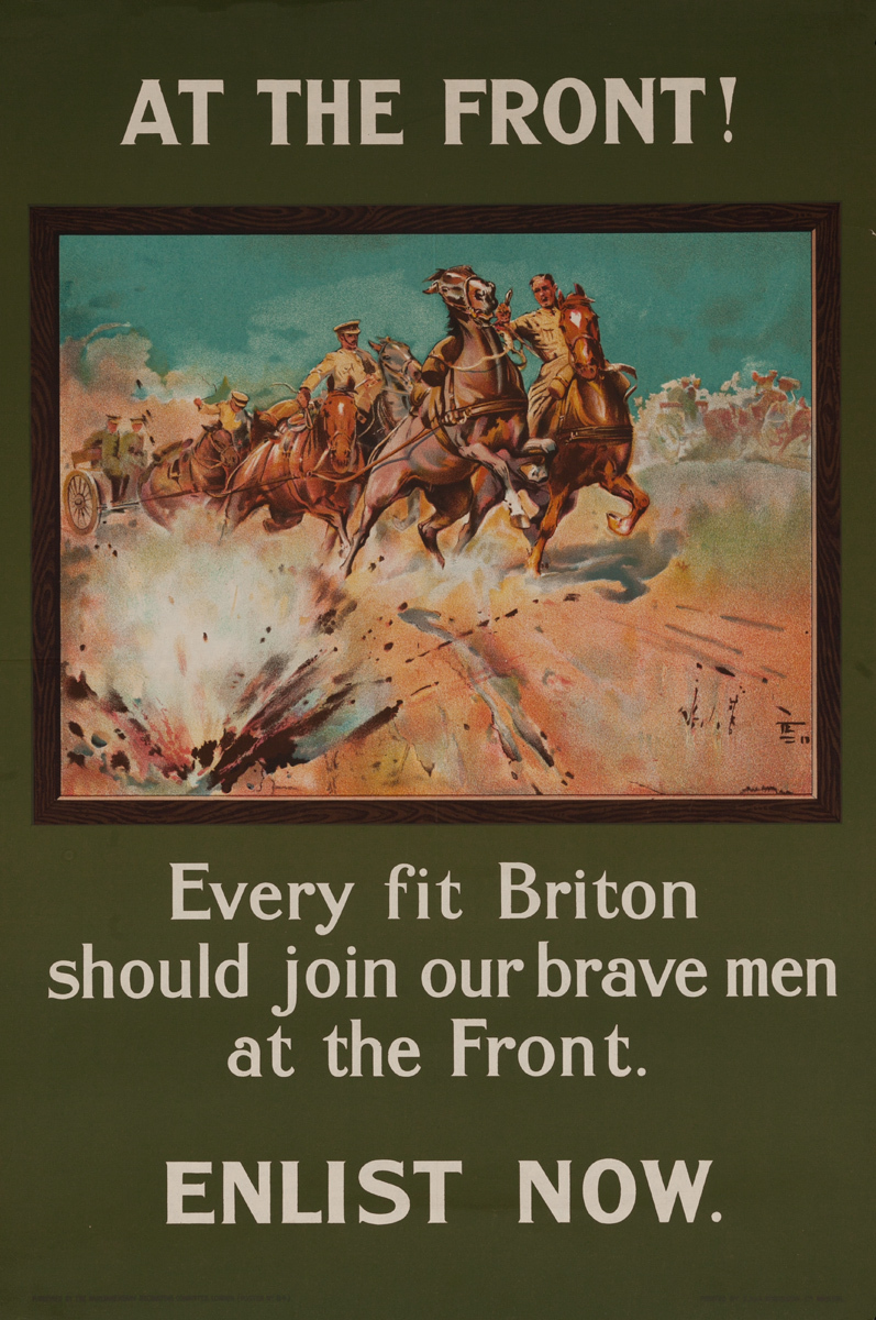 At the Front, Original British WWI Recruiting Poster