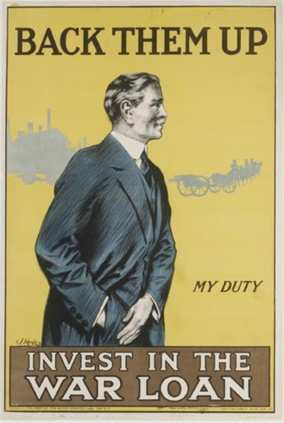 Back Them Up Invest In The War Loan Original WWI British Poster