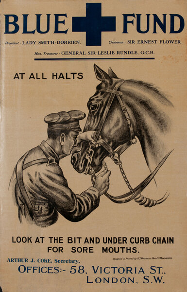 Blue Fund Original WWI British Horse Care Poster At All Halts, Look at the Bit