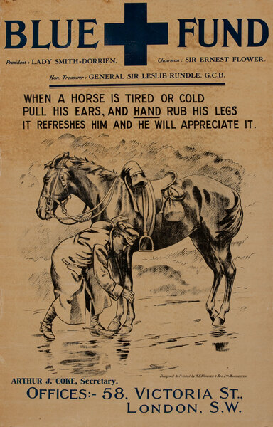 When a Horse is Tired or Cold Blue Fund Original WWI British Horse Care Poster
