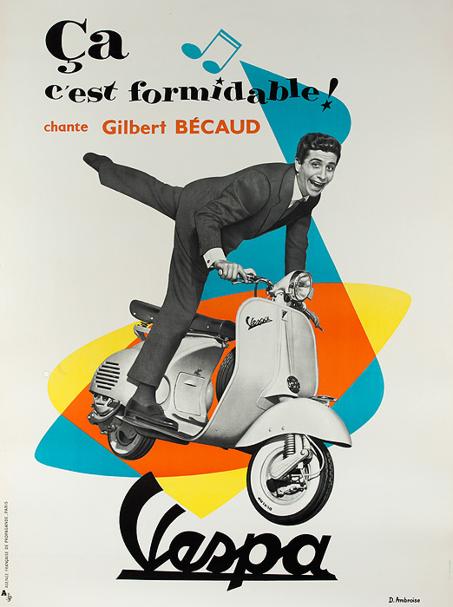 Vespa Original Vintage Poster Gilbert Becaud