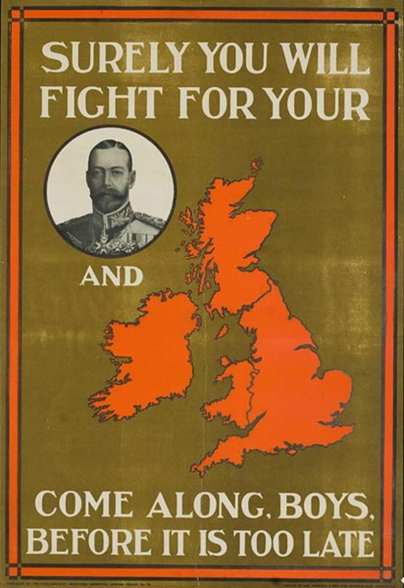 Surely You Will Fight For Your King and Country Original WWI British Recruiting Poster