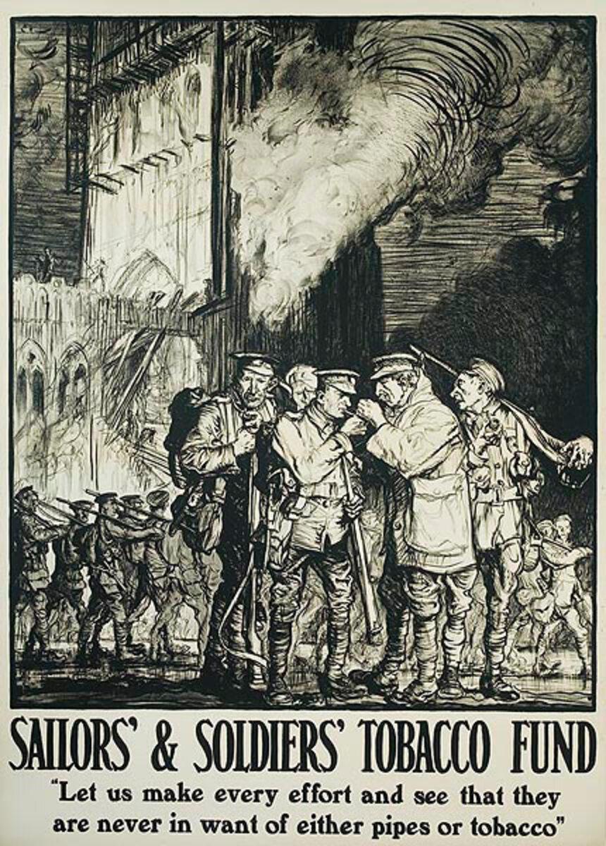 Soldier's and Sailor's Tobacco Fund Original WWI British War Poster
