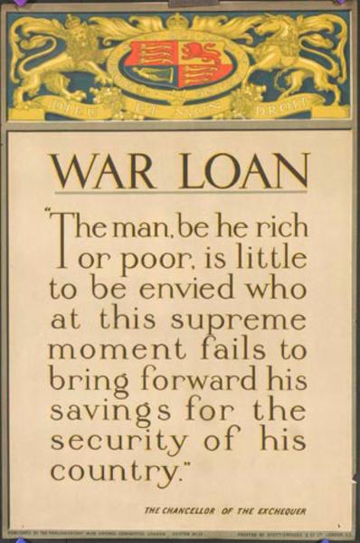 War Loan The man, be he rich or poor… Original WWI British Parlimentary War Savings Committee Poster 17