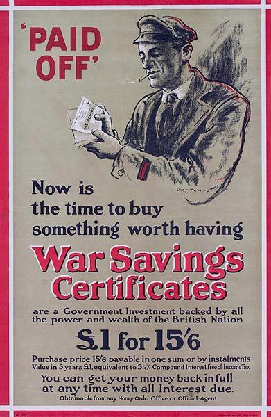 Paid Off War Saving Certificates Original British WWI Poster