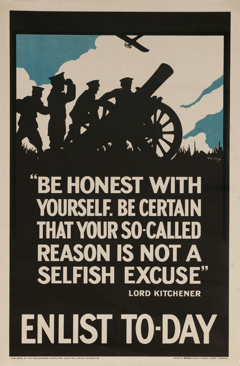 Be Honest with Yourself... Enlist To-Day Kichner Quote Original Vintage British World War I Poster
