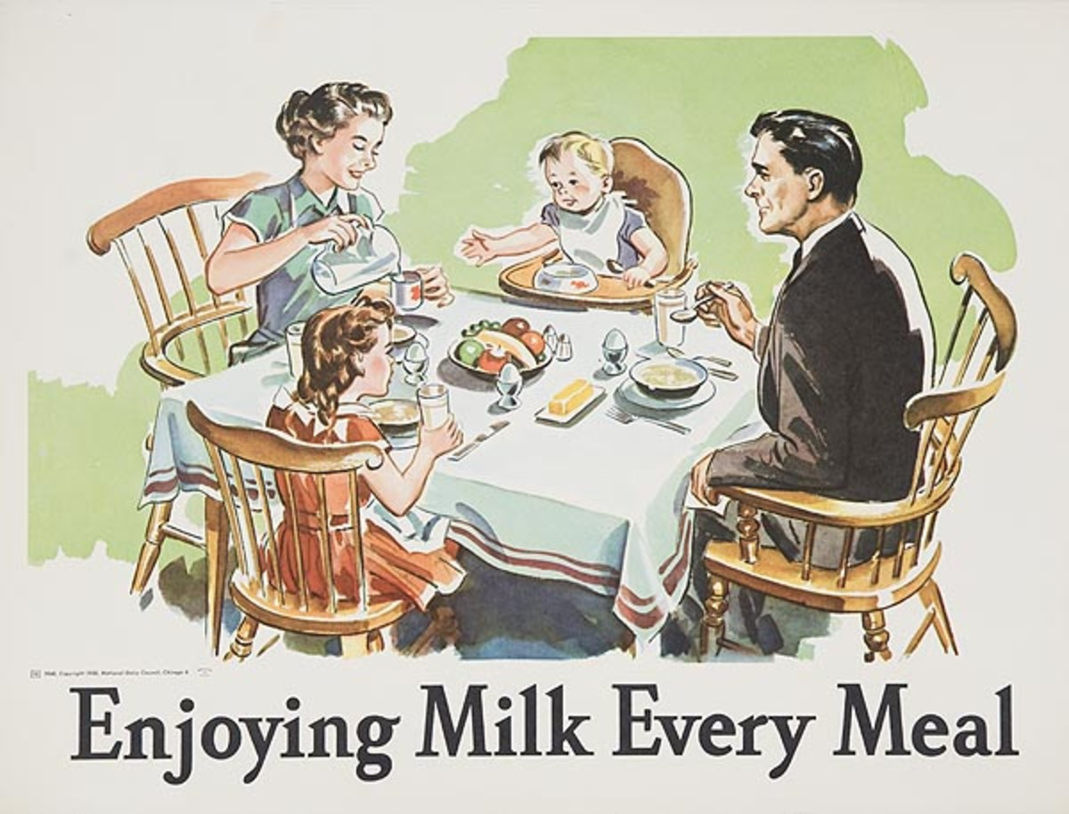 Enjoying Milk at Every Mail Original Dairy Council Promotional Poster