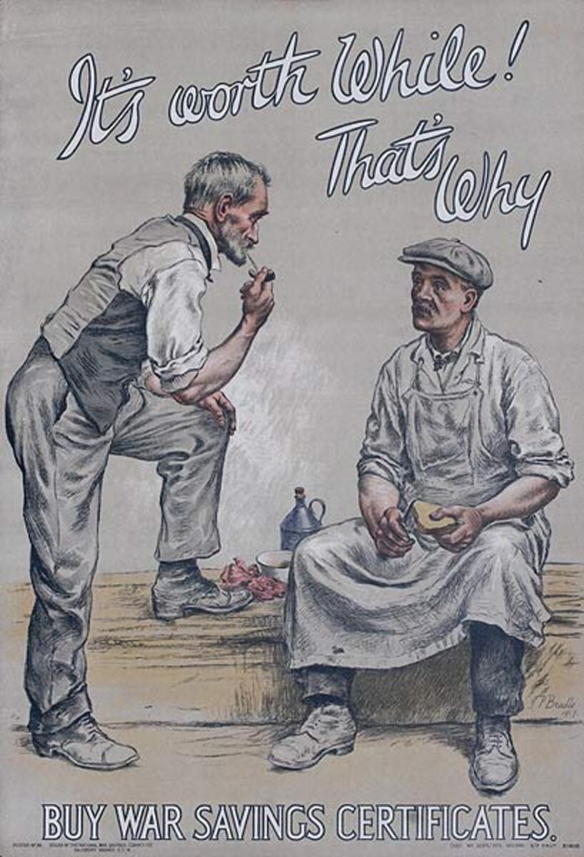 It's Worth While That Way, Original British WWI War Savings Certificate Poster