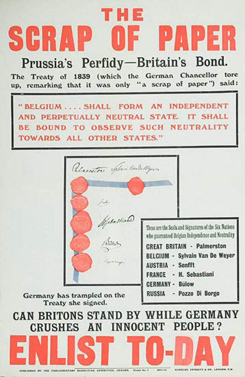 The Scrap of Paper Prussia's Perfidy- Britain's Bond, Original WWI British Parlimentary Recruiting Poster #7
