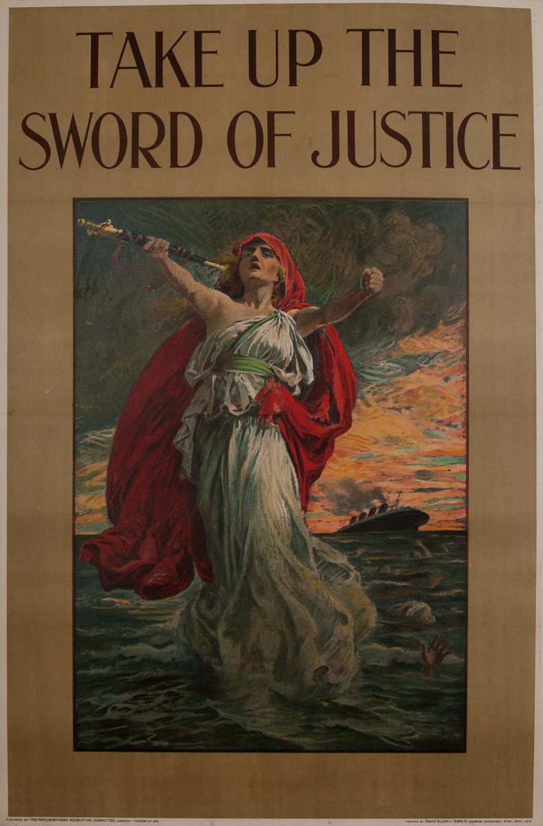 Take up the Sword of Justice Original Vintage British World War One Poster