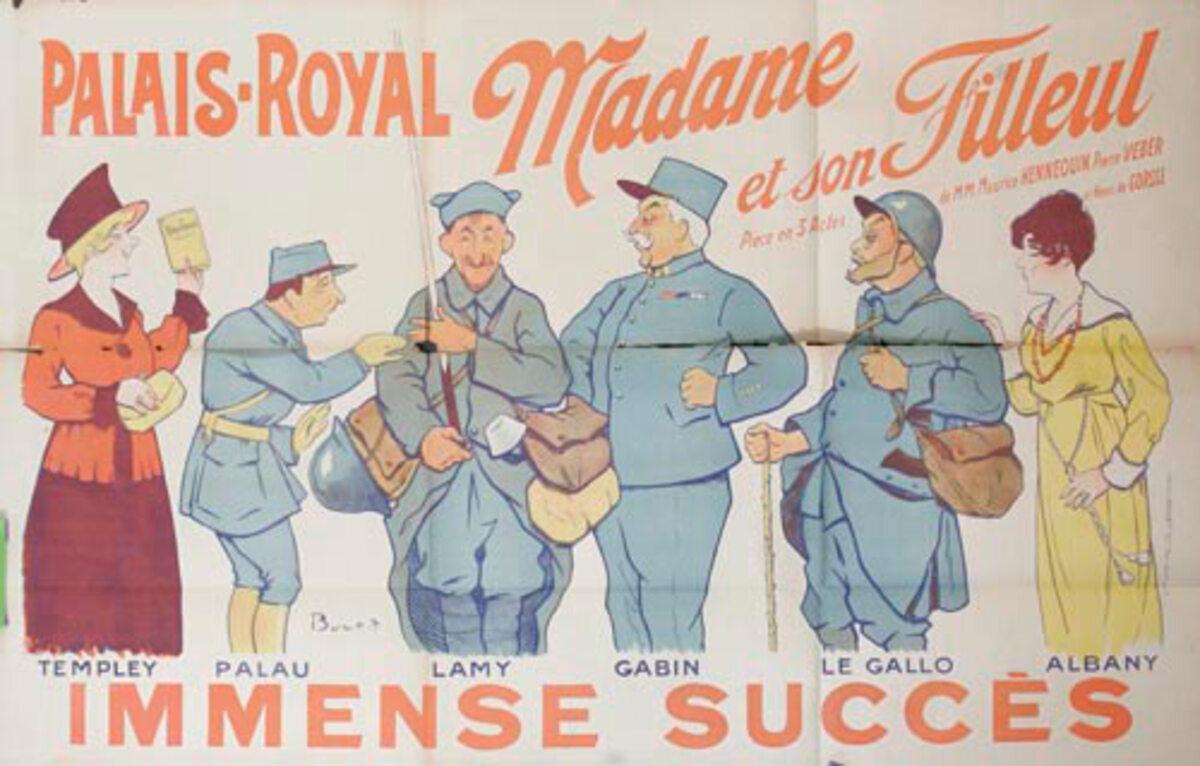 Madame et Son Filleul Original WWI French Theatre Poster