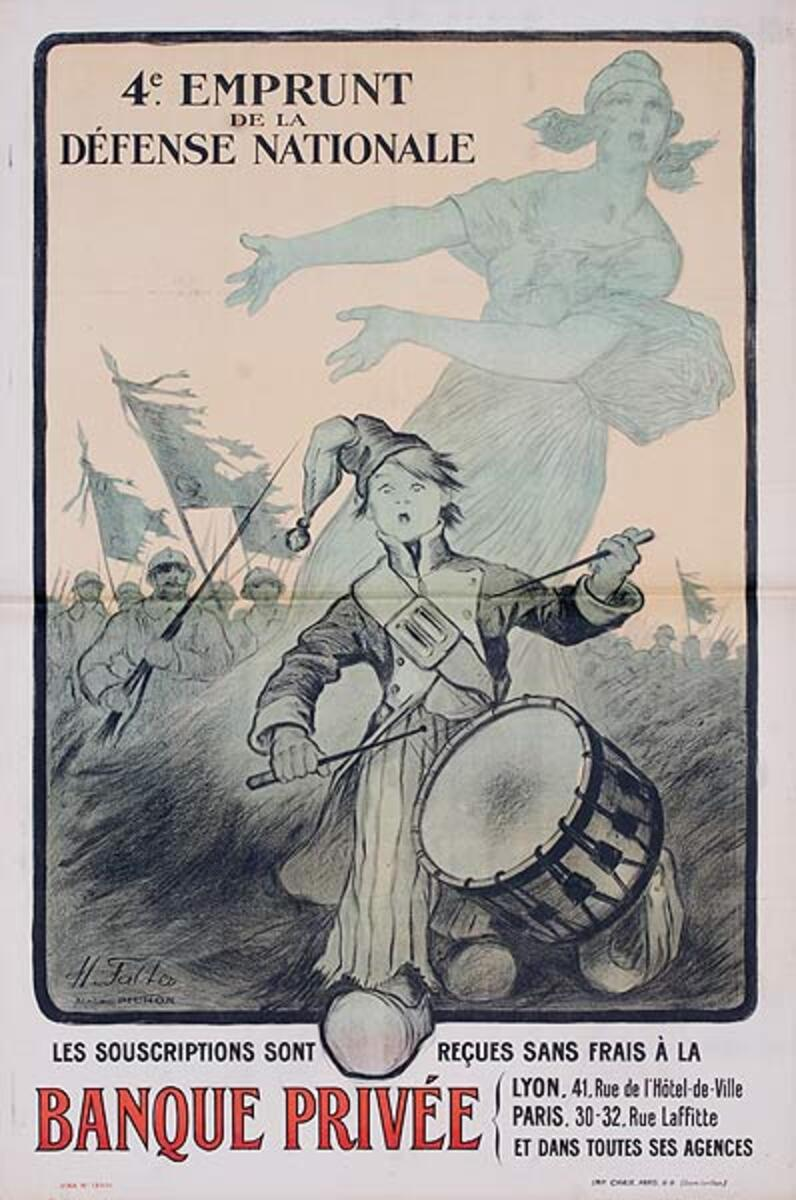 4th Emprunt Banque Privee Drummer Boy Original French WWI Poster