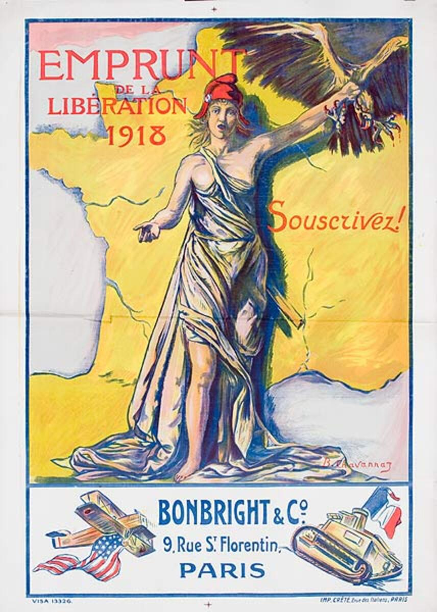 Emprunt de le Liberation Bonbright and Co Plane Tank Original French WWI Poster