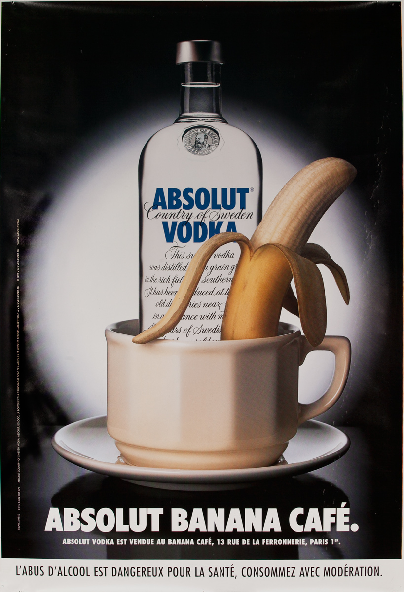 Absolut Vodka Original French Advertising Poster Banana Cafe