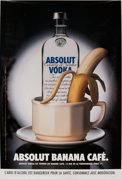 Absolut Vodka Original French Advertising Poster Banana Cafe
