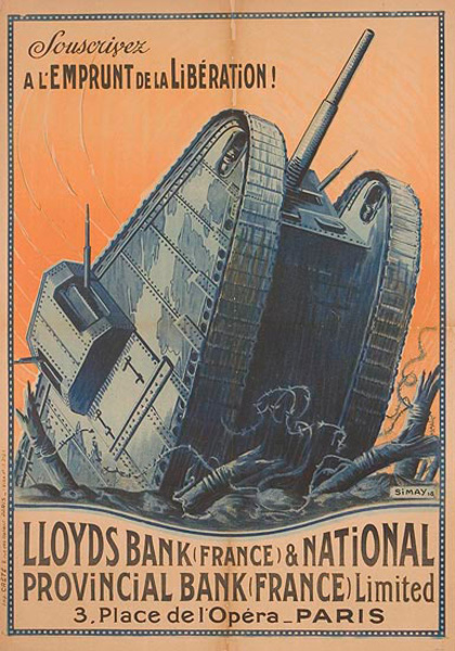 Lloyds Bank and National Provincial Bank Original WWI French Loan Poster Tank