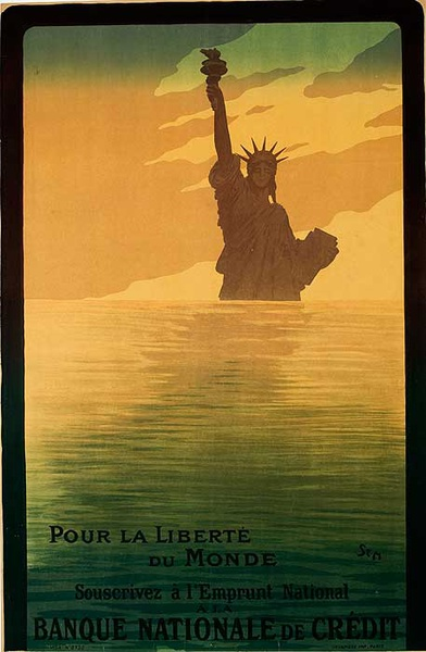 Pour la Liberte Banque National Original French WWI Poster For the Liberty of the World