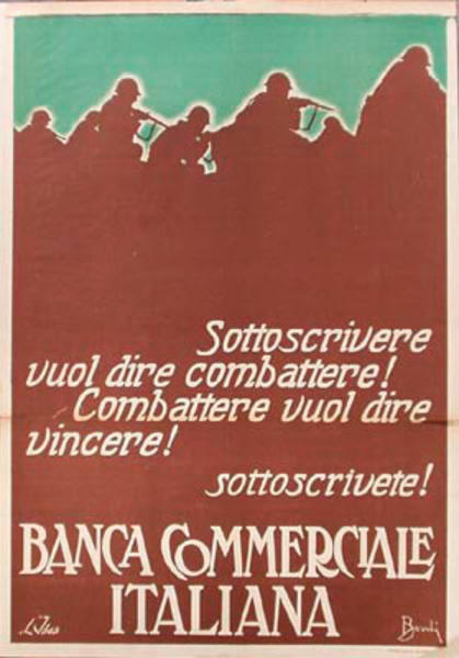 Banca Commerciale Italiana Original Vintage Italian World War I Poster