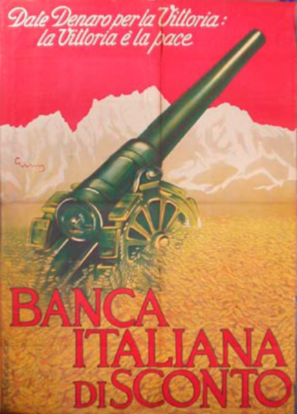 Banca Italiana Gun Original Vintage World War One Italian Poster