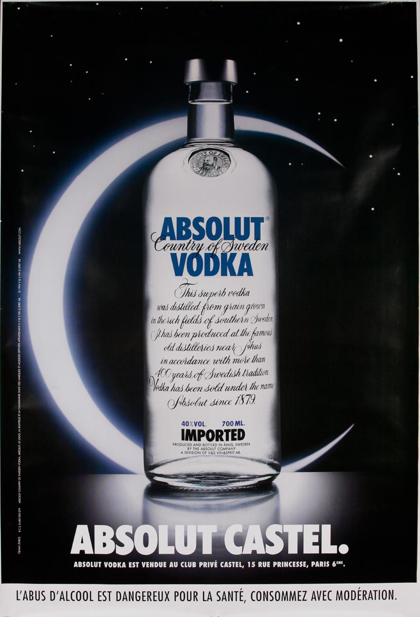 Absolut Vodka Original French Advertising Poster Castel