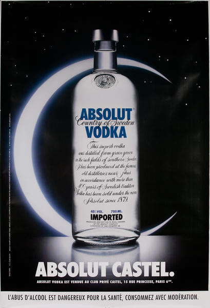 Absolut Vodka Original French Advertising Poster Castel