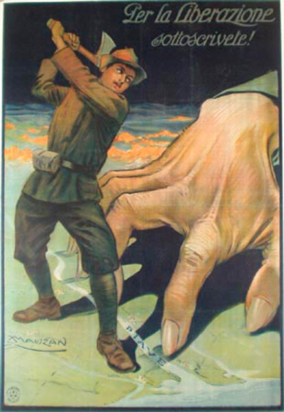 For Liberation Original Vintage WWI Italian Poster Mauzan Giant Hand